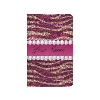 Hot Pink Faux Foil Zebra Stripes Rose Gold Journal