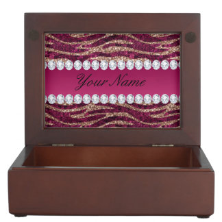 Hot Pink Faux Foil Zebra Stripes Rose Gold Keepsake Box