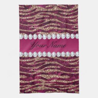 Hot Pink Faux Foil Zebra Stripes Rose Gold Kitchen Towel