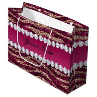 Hot Pink Faux Foil Zebra Stripes Rose Gold Large Gift Bag