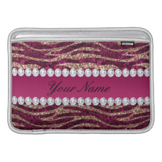 Hot Pink Faux Foil Zebra Stripes Rose Gold MacBook Air Sleeves
