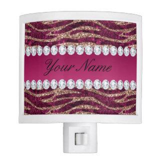 Hot Pink Faux Foil Zebra Stripes Rose Gold Nite Lights