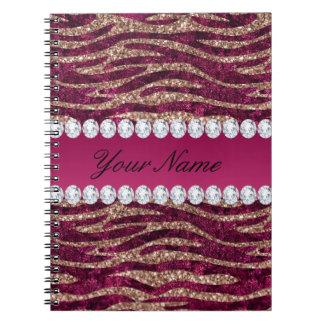 Hot Pink Faux Foil Zebra Stripes Rose Gold Notebook