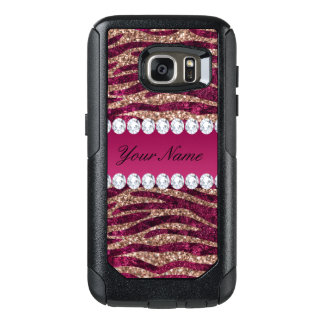 Hot Pink Faux Foil Zebra Stripes Rose Gold OtterBox Samsung Galaxy S7 Case