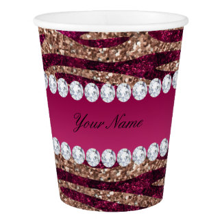 Hot Pink Faux Foil Zebra Stripes Rose Gold Paper Cup