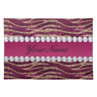 Hot Pink Faux Foil Zebra Stripes Rose Gold Placemat