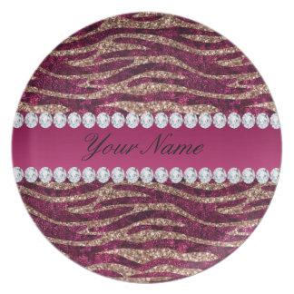 Hot Pink Faux Foil Zebra Stripes Rose Gold Plate