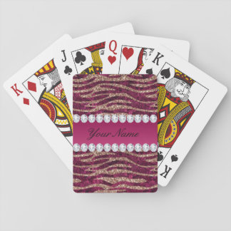 Hot Pink Faux Foil Zebra Stripes Rose Gold Playing Cards