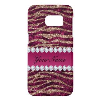 Hot Pink Faux Foil Zebra Stripes Rose Gold Samsung Galaxy S7 Case