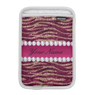 Hot Pink Faux Foil Zebra Stripes Rose Gold Sleeve For iPad Mini