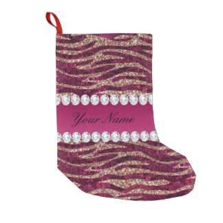 Hot Pink Faux Foil Zebra Stripes Rose Gold Small Christmas Stocking