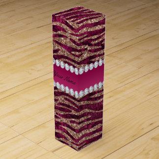 Hot Pink Faux Foil Zebra Stripes Rose Gold Wine Gift Box