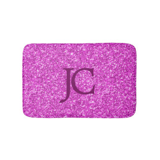 Hot Pink Faux Glitter Custom Monogram Bath Mat