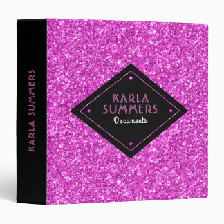 Hot Pink Faux Glitter Custom Text Template Binders