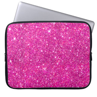 Hot Pink Faux Glitter Shining Pattern Girly Laptop Sleeve