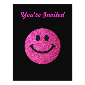 """Hot pink faux glitter smiley face 4.25"""" x 5.5"""" invitation card"""