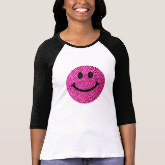 Hot pink faux glitter smiley face T-Shirt