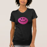 Hot pink faux glitter smiley face tee shirt