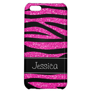 Hot Pink Faux Glitter Zebra Personalized Case For iPhone 5C