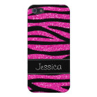 Hot Pink Faux Glitter Zebra Personalized iPhone 5/5S Cover