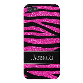 Hot Pink Faux Glitter Zebra Personalized iPhone 5/5S Covers