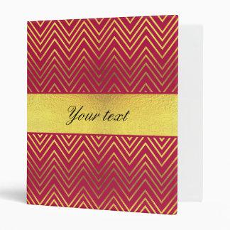 Hot Pink Faux Gold Foil Chevrons Binder