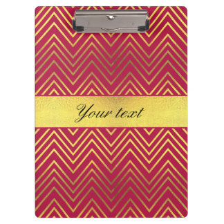 Hot Pink Faux Gold Foil Chevrons Clipboards