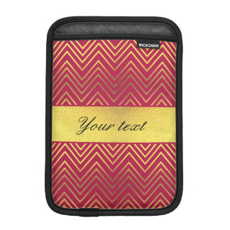 Hot Pink Faux Gold Foil Chevrons iPad Mini Sleeve