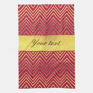Hot Pink Faux Gold Foil Chevrons Towel
