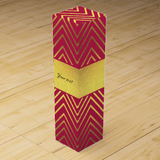 Hot Pink Faux Gold Foil Chevrons Wine Box