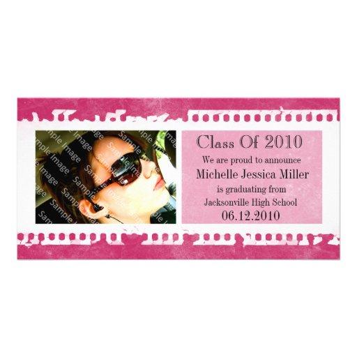 Hot Pink Film Frame Grunge Graduation Photo Card