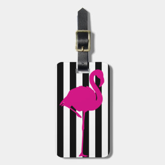 Hot Pink Flamingo on Black and White Stripe Luggage Tag