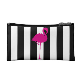 Hot Pink Flamingo on Black and White Stripes Makeup Bag