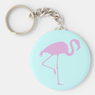 Hot Pink Flamingo Teal Keychain