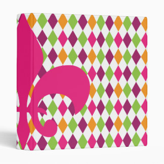 Hot Pink Fleur De Lis Diamond Pattern School Vinyl Binder