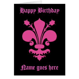 Hot pink fleur de lis symbol Happy Birthday Card