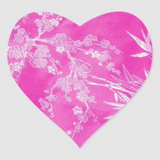Hot Pink Floral Blossom Texture Heart Sticker