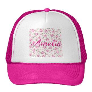Hot pink,floral,girly,trendy,vintage,pattern,cute, trucker hat