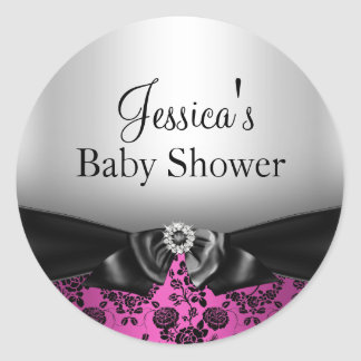 Hot Pink Floral Print Bow Baby Shower Sticker