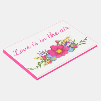 Hot Pink Floral Watercolor Magenta Flowers Wedding Guest Book
