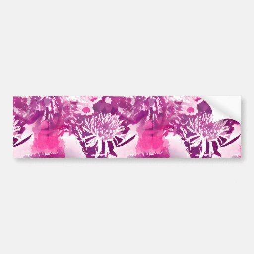 Hot Pink Flower Bouquet in Vase Collage Bumper Stickers