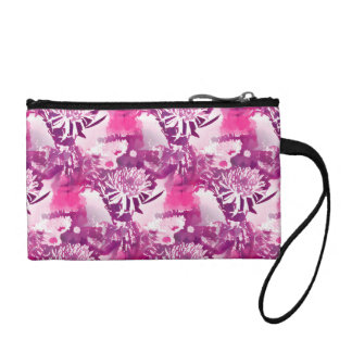 Hot Pink Flower Bouquet in Vase Collage Coin Purse