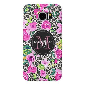 Hot Pink Flower Leopard Print Custom Monogram Samsung Galaxy S6 Cases