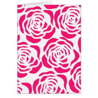 hot pink flower outlines card