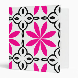 Hot pink flowers binder