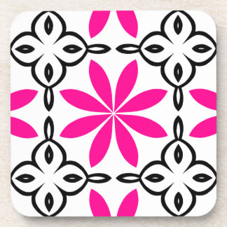 Hot pink flowers coaster