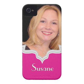 Hot pink frame girly photo iPhone template Case-Mate iPhone 4 Cases