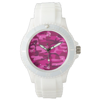 Hot Pink Fuchsia Camo Camouflage Girly Pattern Watch