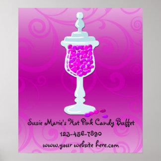 Hot Pink Fuchsia Candy Buffet Poster
