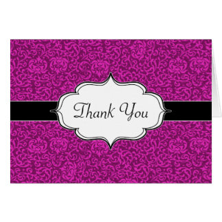 Hot Pink Fuchsia Floral Pattern Card
